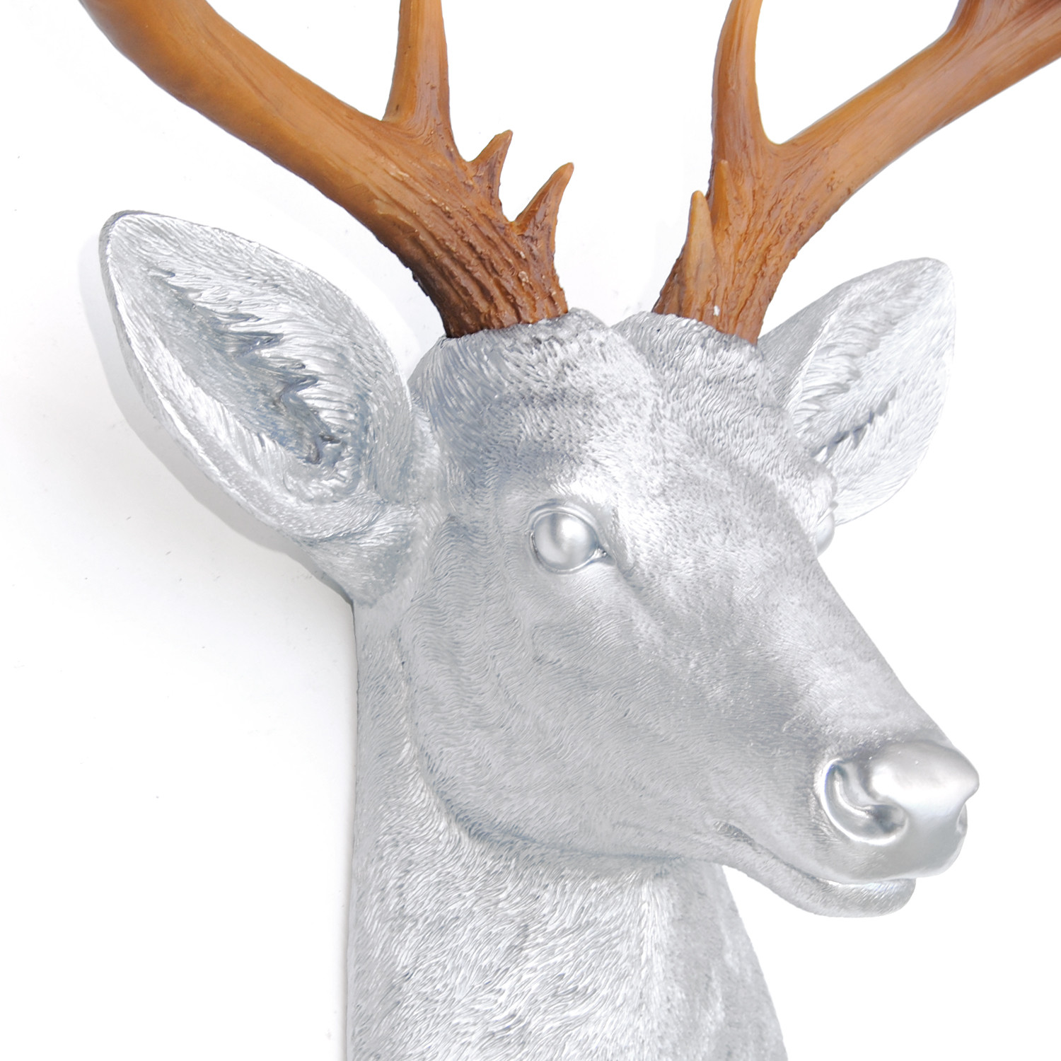 14 point deer heads wall mount silver natural brown near and deer touch of modern - Silver stag head wall mount ...