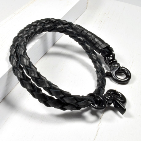 Leather Double Wrap Bracelet // Hinge Clasp // Black