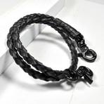 Leather Double Wrap Bracelet // Hinge Clasp // Black