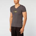Armani // Chest Logo V-Neck Tee // Charcoal (M)