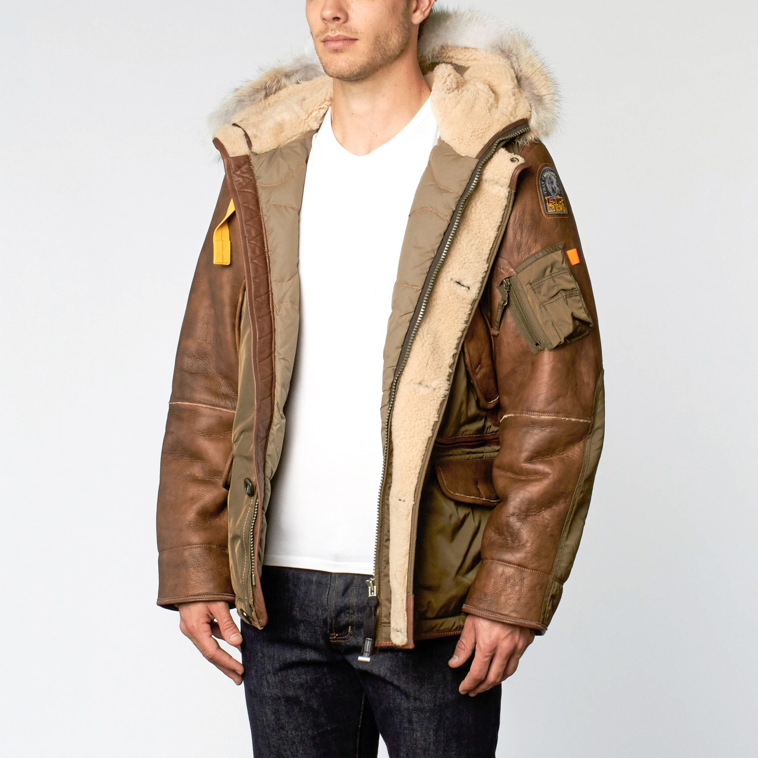 Right Hand Fur Trimmed Leather Jacket // Army (M)