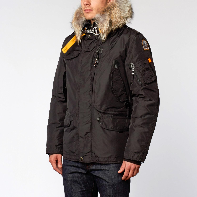 Right Hand Fur Trimmed Nylon Jacket // Black (M)