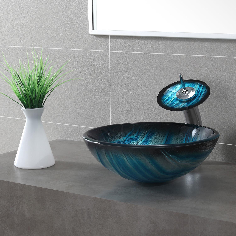 Blue Glass Vessel Sink Waterfall Faucet - Sink Ideas