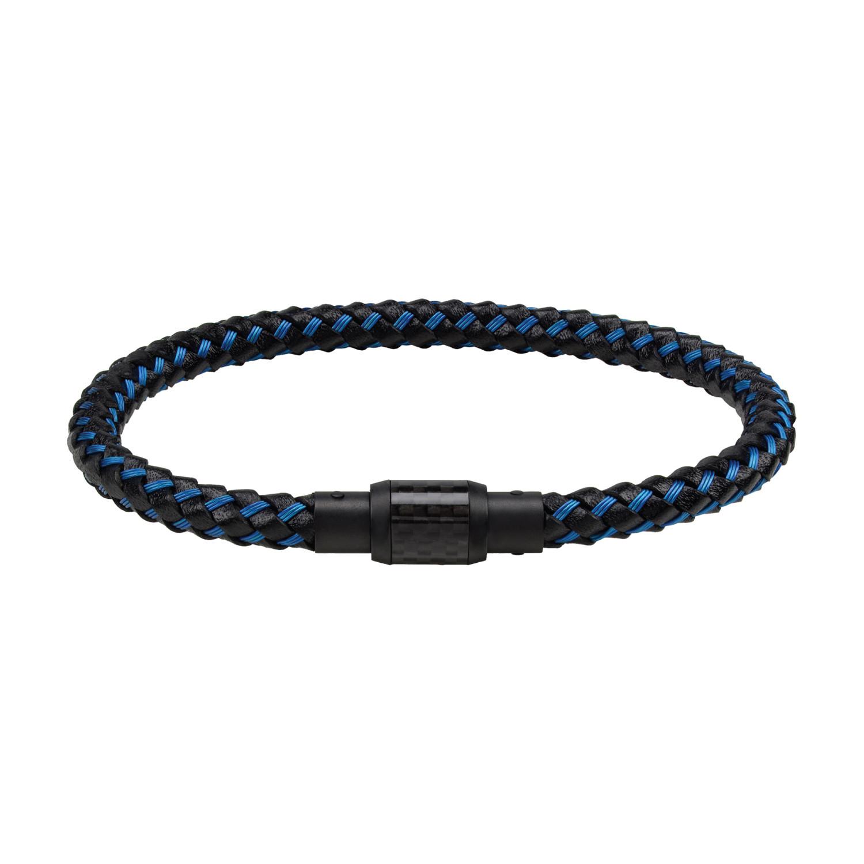 Black Leather Blue Wired Carbon Fiber Bracelet
