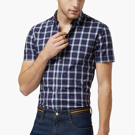 Qzhihe // Summer Shirt // Navy Plaid