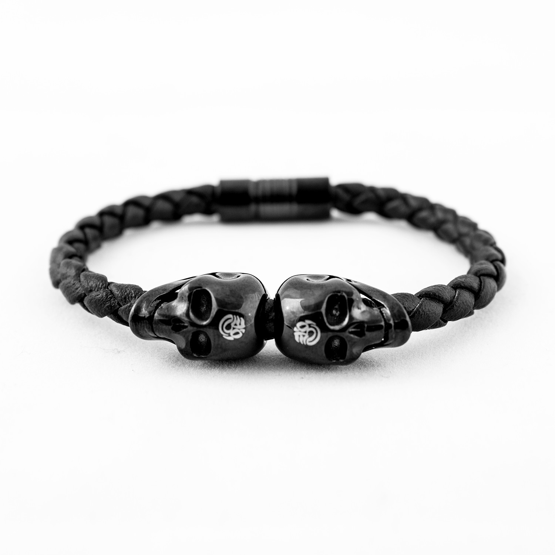 Stainless Steel Rebel Skulls Bracelet // Black Gloss - Kapala ...