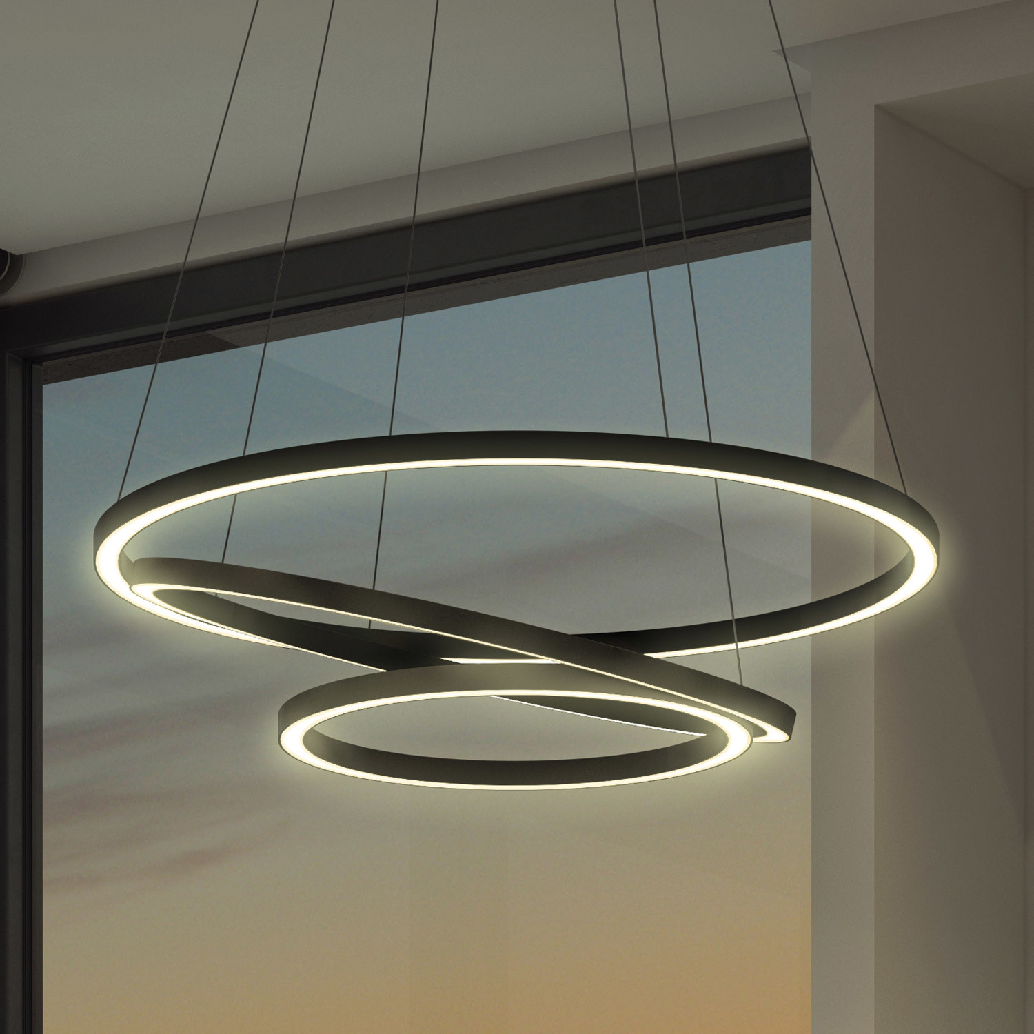 Led 3 Ring Chandelier: Capella // Three Ring Chandelier