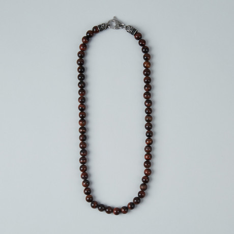 Tiger Eye Lobster Clasp Necklace // Red