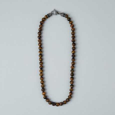 Tiger Eye Beaded Lobster Clasp Necklace // Brown + Steel