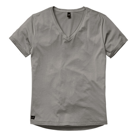 Brown Low V Neck T-Shirt // Stone Grey (S)