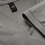 Brown Low V Neck T-Shirt // Stone Grey (L)