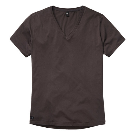 Brown Low V Neck T-Shirt // Off Black (S)