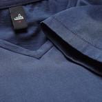 Wahts // Brown Deep V Neck Shirt // Vintage Blue (L)