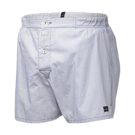 Bennett Tailored Boxer Shorts // Dirty Grey Stripe (S)