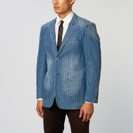 Pinstripe Slim Fit Blazer // Denim