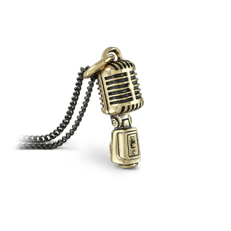 "Microphone Necklace (Bronze // 20"" Gunmetal Chain)"
