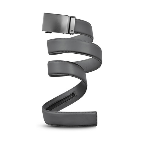 Gunmetal Leather Belt // Cool Grey