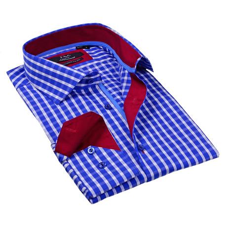 Button-Up Dress Shirt // Royal Blue Gingham
