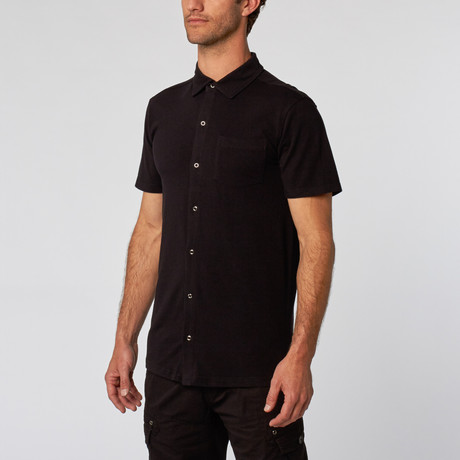 Short Sleeve Snap Button-Up // Black