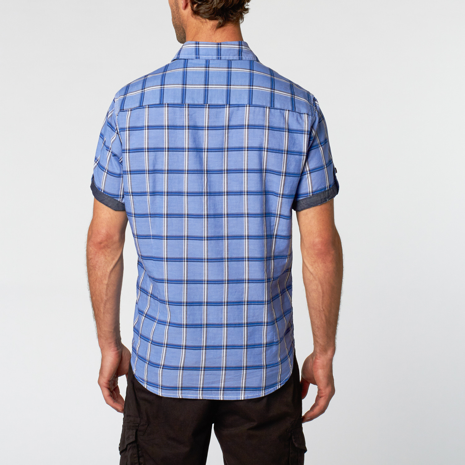 Short Sleeve Shirt Blue Plaid S Private Member