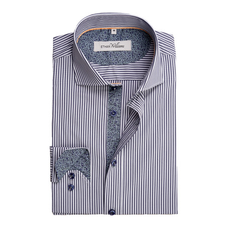 Cool Stretch Button-Up // Navy Stripe