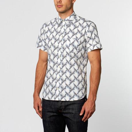 Dizzy Geometric Abstract Short-Sleeve Shirt // White + Blue