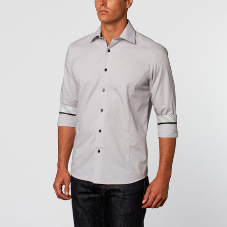 Slimming Button-Up Shirt // Grey