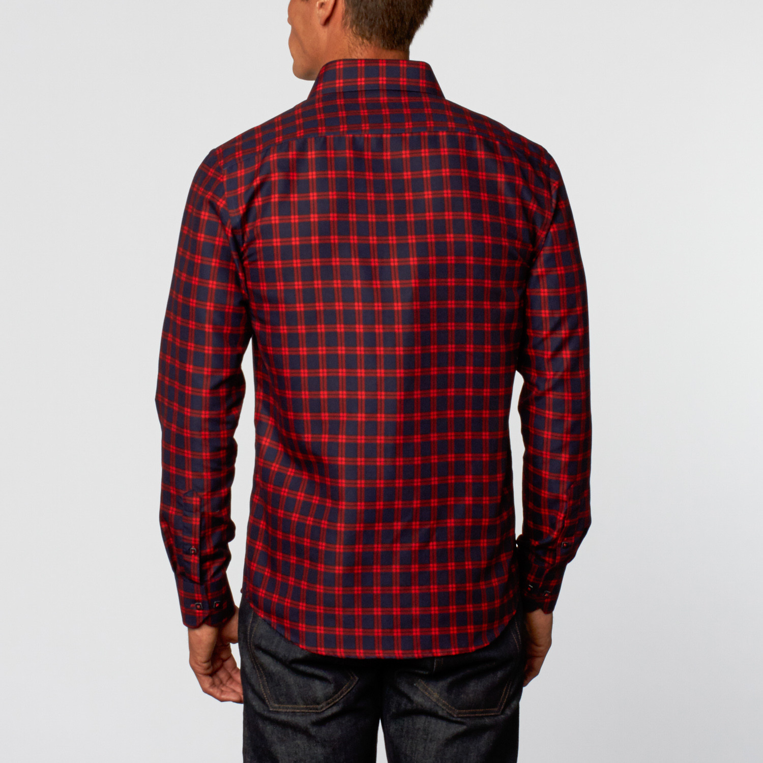 Grid Button Up Shirt Navy Red S Rosso Milano