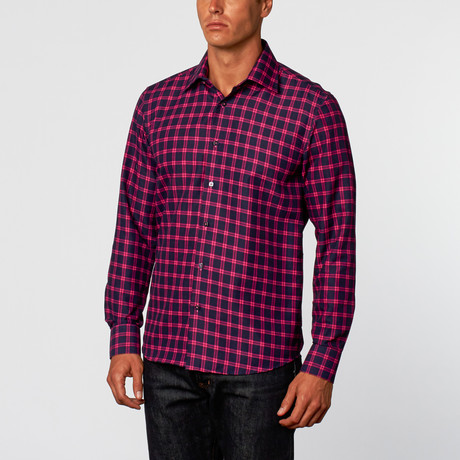 Grid Button-Up Shirt // Navy + Fuschia