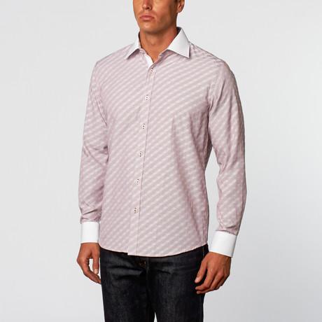 Contrast Stripe Button-Up // Burgundy