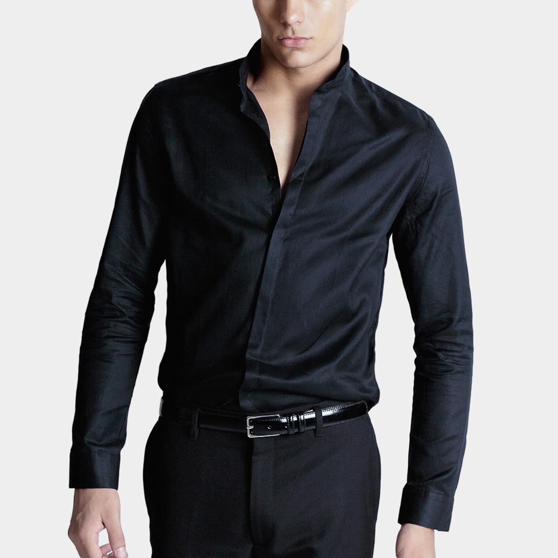 Mandarin Collar Dress Shirt // Black (XS) - Basique ...