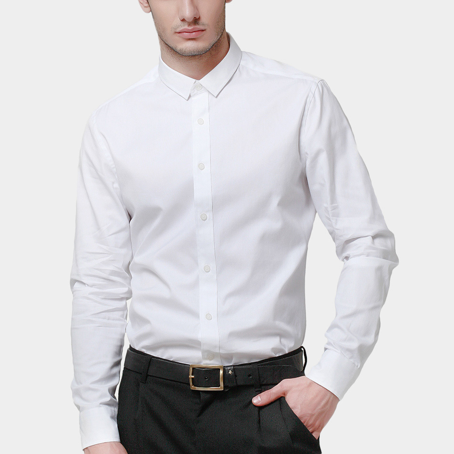 Dress shirt white xs basique touch of modern for 20 34 35 dress shirts