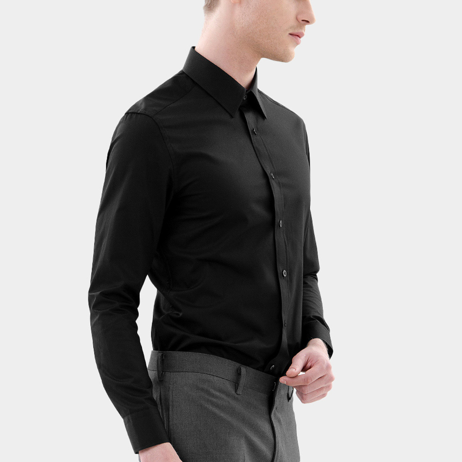 Classic dress shirt black xs basique touch of modern for 20 34 35 dress shirts