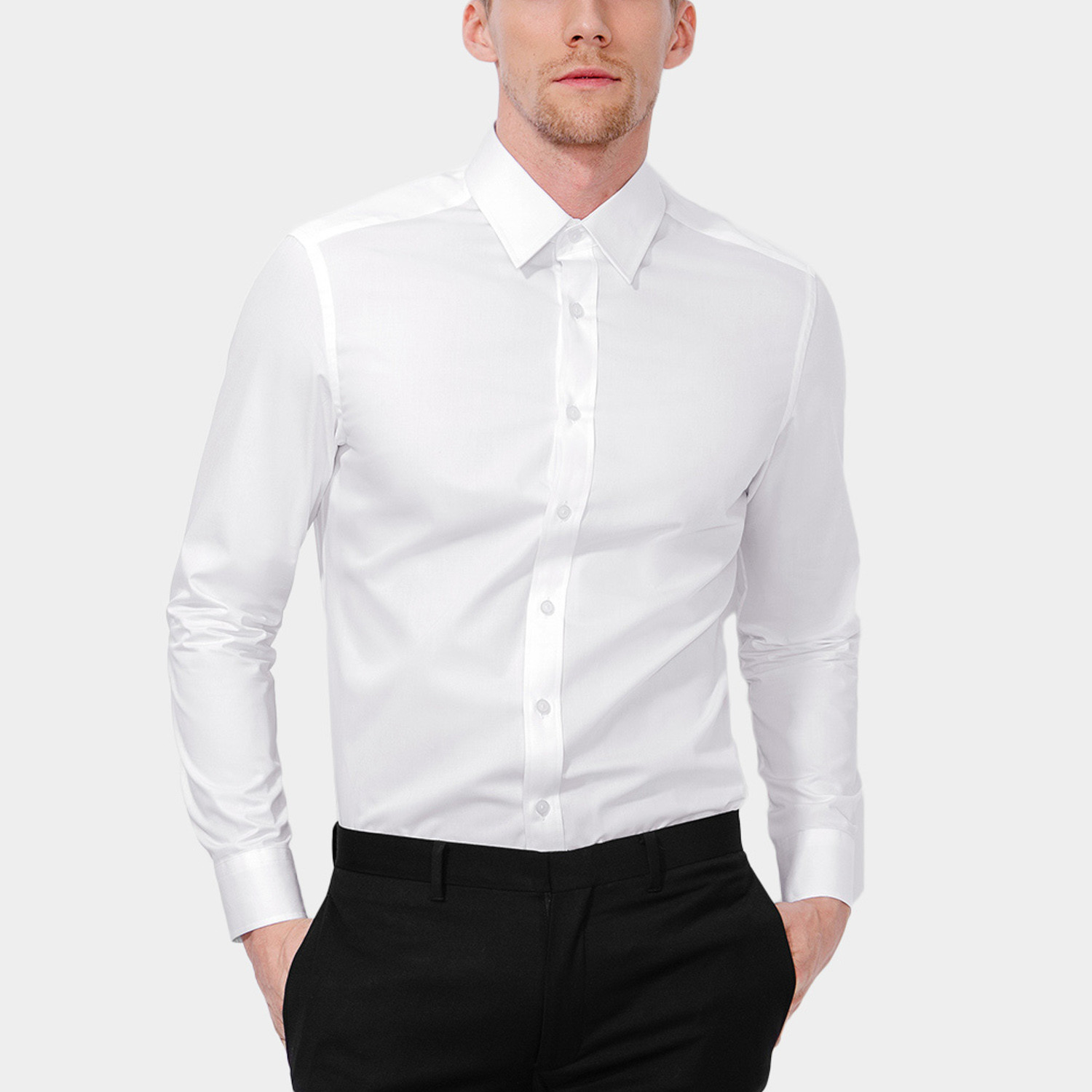 Classic dress shirt white xs basique touch of modern for Classic white dress shirt