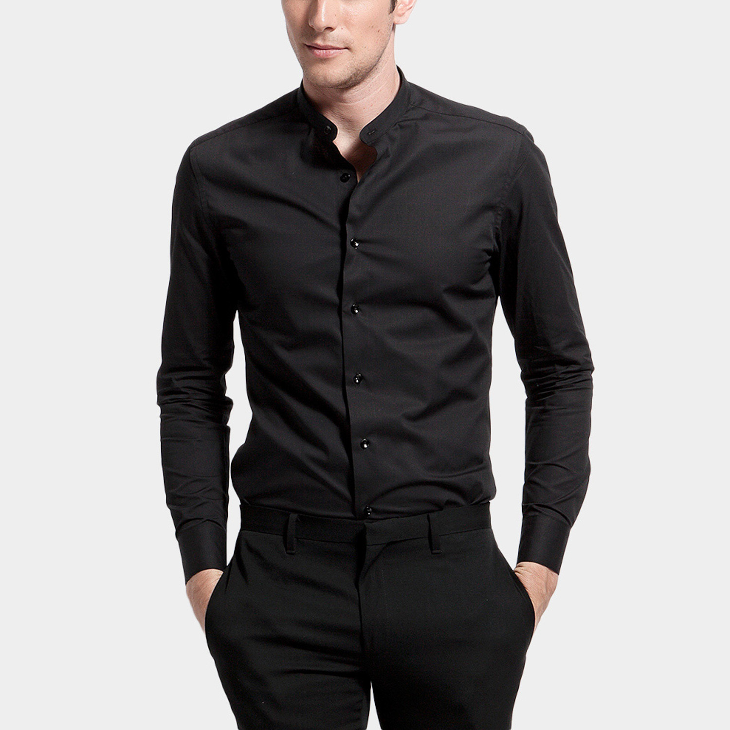 Mao collar dress shirt black xs basique touch of for 20 34 35 dress shirts