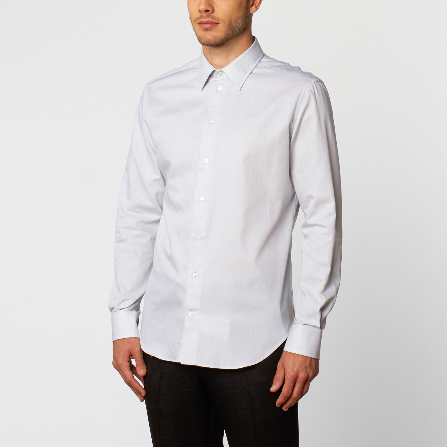 Classic long sleeve dress shirt white us 14 5r for Classic white dress shirt