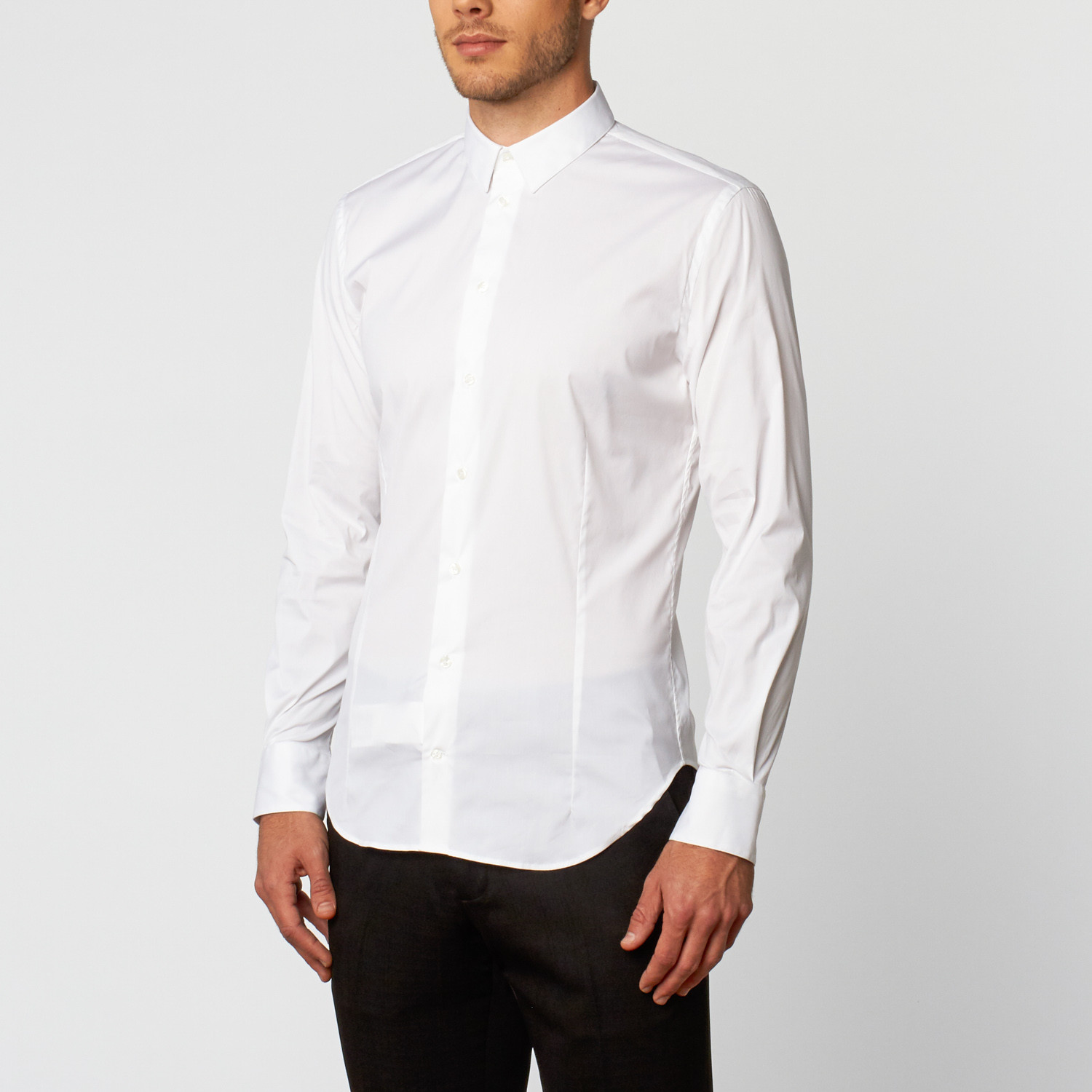 Solid Long Sleeve Dress Shirt White Us 145r Clearance
