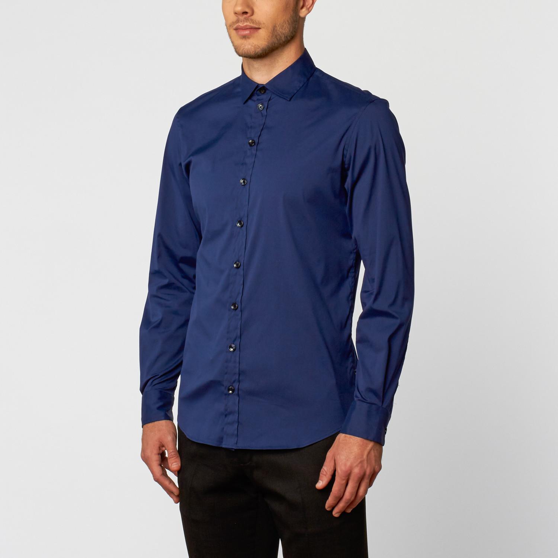 Solid Long Sleeve Dress Shirt Royal Blue L Armani Collezioni