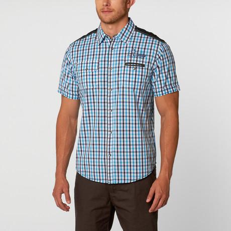 Short Sleeve Shirt // Blue + Black Plaid