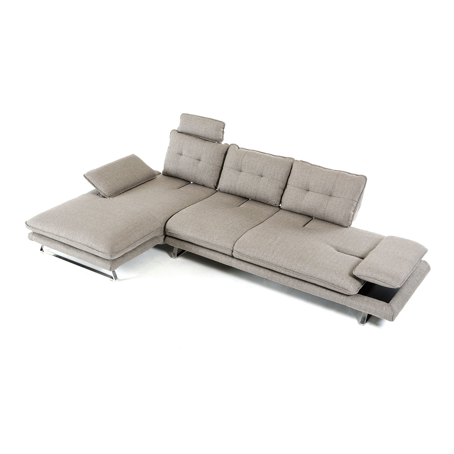Divani Casa Porter Modern Grey Fabric Sectional Sofa Left Facing