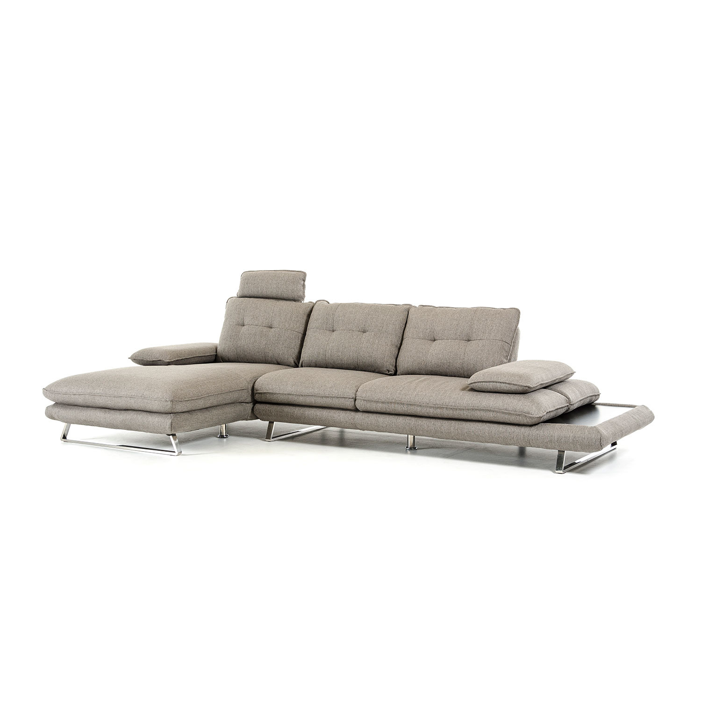 Divani Casa Porter Modern Grey Fabric Sectional Sofa Left Facing