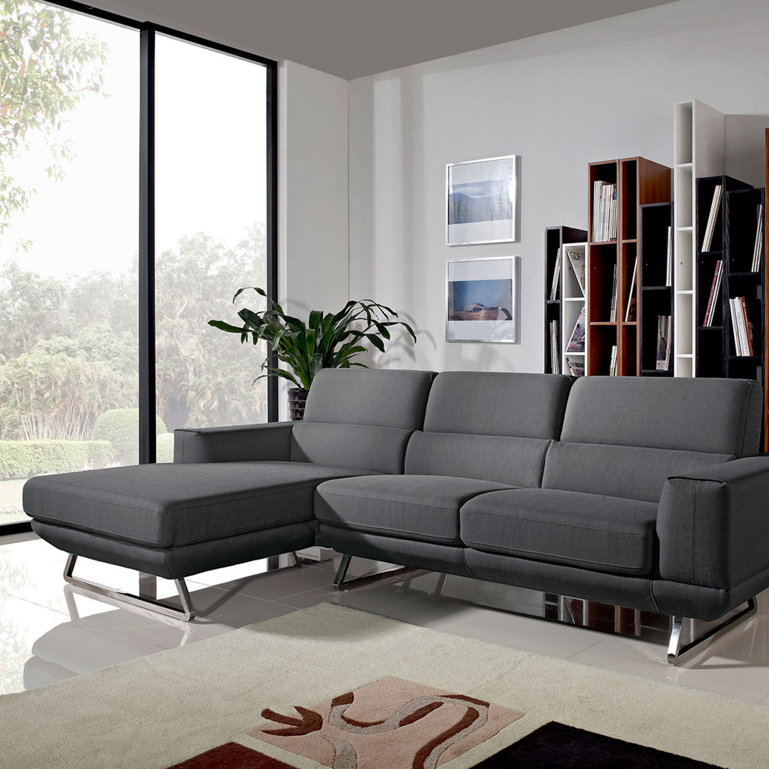 Divani Casa Becket Modern Dark Grey Fabric Sectional Sofa VIG