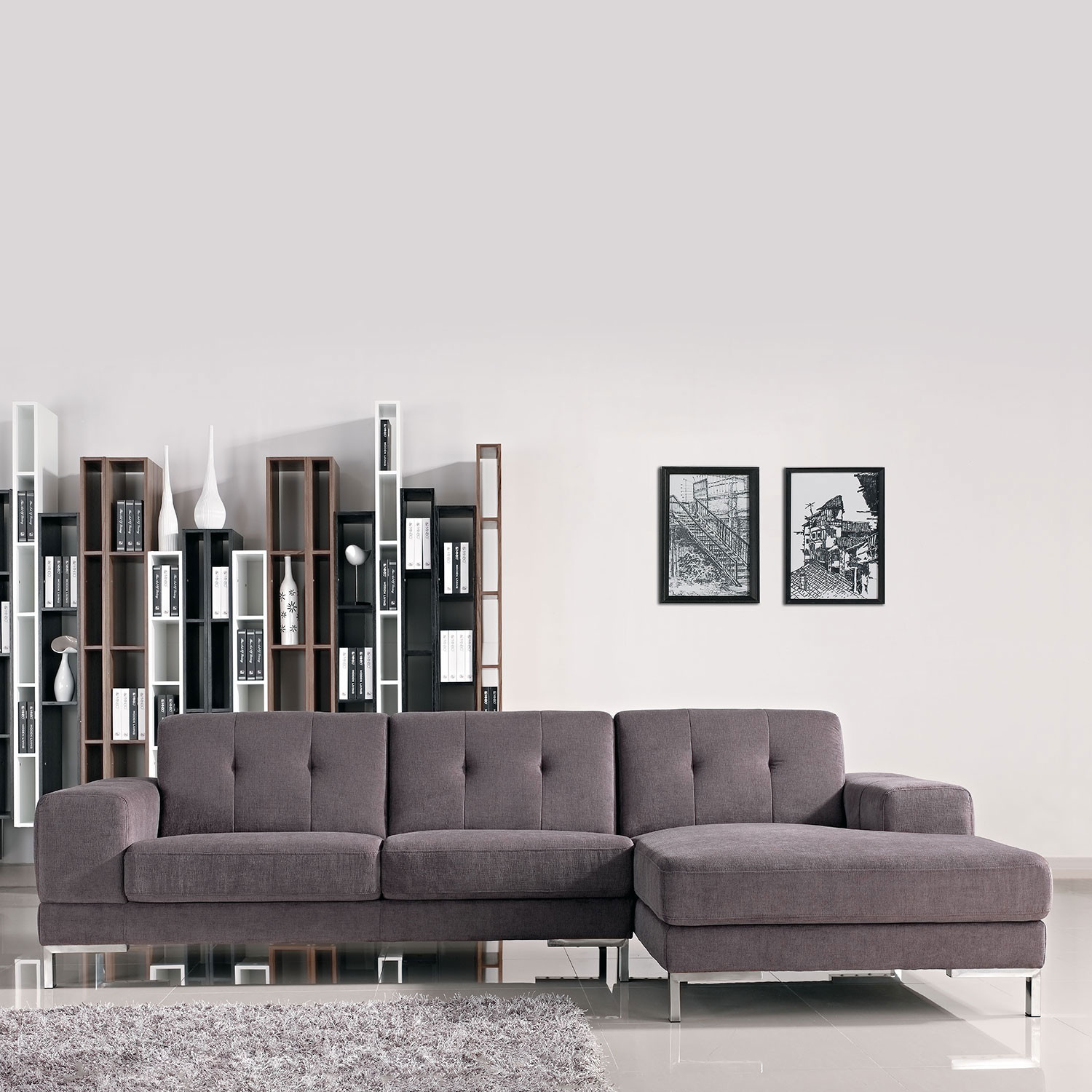 divani casa forli modern fabric sectional sofa right facing chaise vig furniture touch of. Black Bedroom Furniture Sets. Home Design Ideas