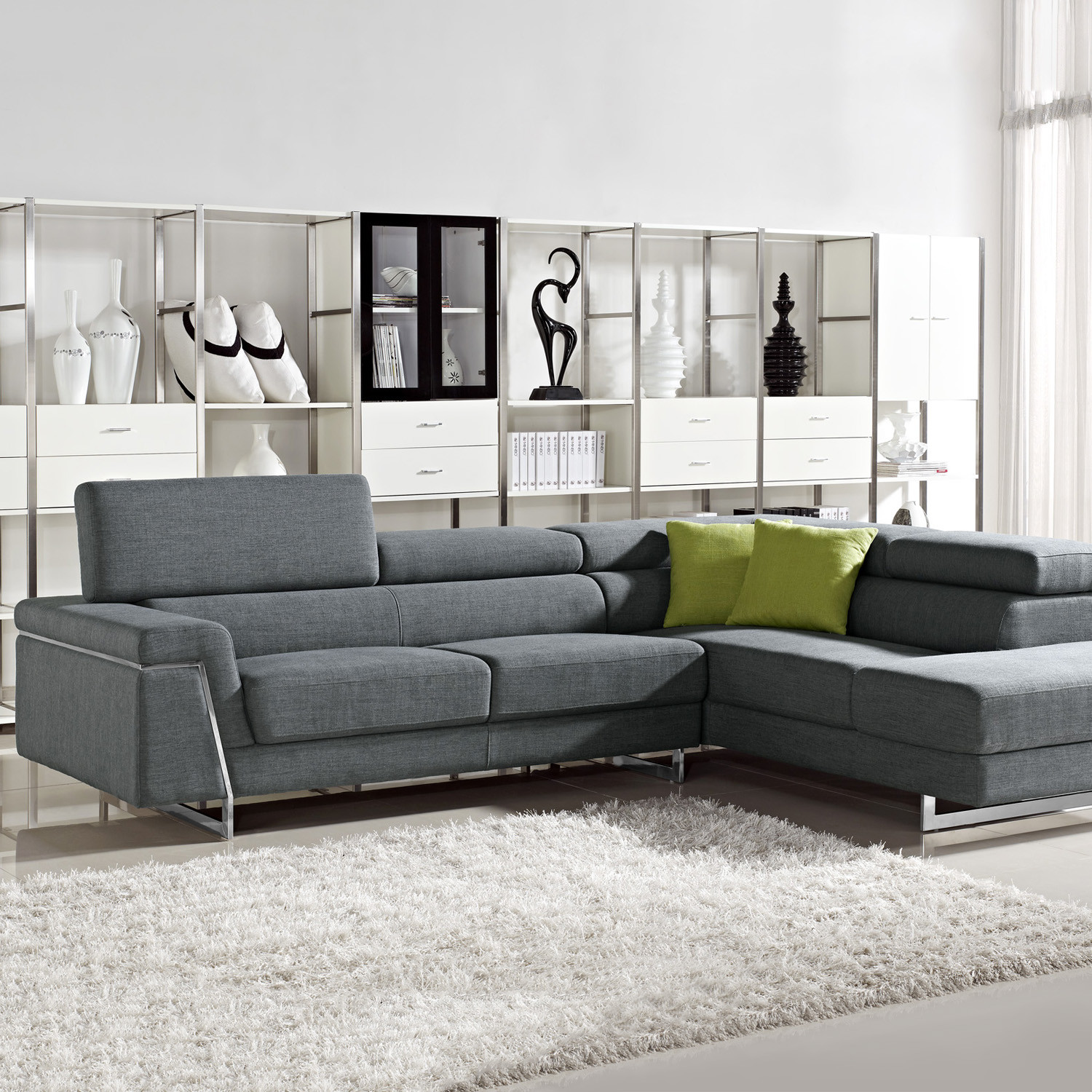 Divani Casa Darby Modern Fabric Sectional Sofa Set VIG Furniture