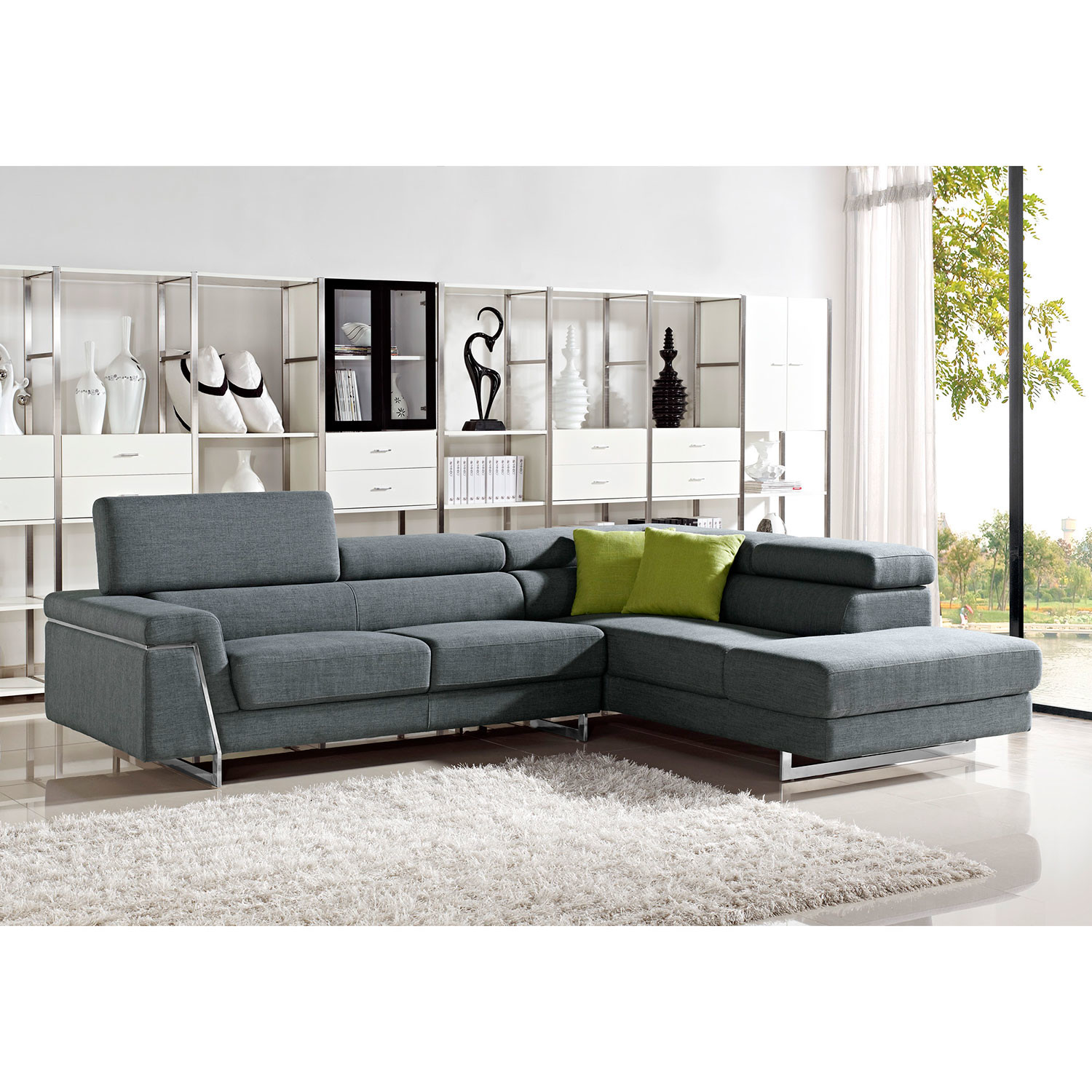 Contemporary Sectional: Divani Casa Darby Modern Fabric Sectional Sofa Set