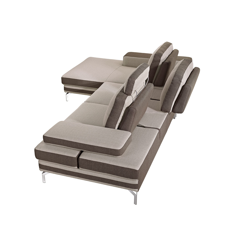 Divani Casa Feldspar Modern Beige Brown Fabric Sectional Sofa