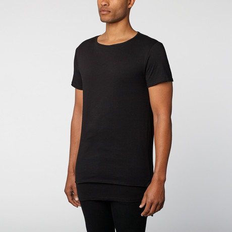 The Project Garments // Crew Neck Double Layer Tee // Black (L)