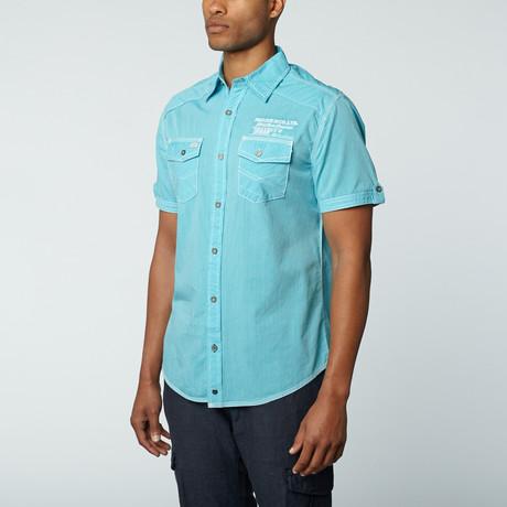 Short Sleeve Shirt // Aqua Wide Stripe (L)