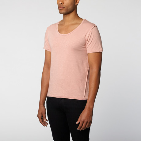 Scoop Neck Slub Tee // Pink