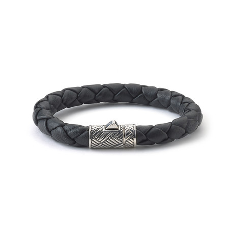 Sterling Silver Leather Rope Bracelet // Silver